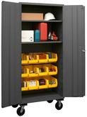 Durham 14 Gauge Mobile Cabinet with Bins and 2 Shelves