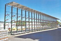 Structural Cantilever Rack with Roof Material Flow