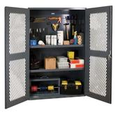 Durham 48 Inch Wide Ventilated 5-S Storage Cabinet with Steel Pegboard and 2 Adjustable Shelves Model No. EMDC-482472-PB-2S-95