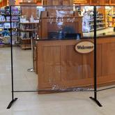 5' Foot Wide Social Barrier Clear Vinyl with Casters