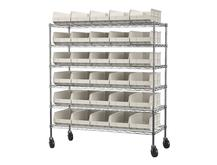 AWS2460M30358 Mobile Wire Shelving with 30 AkroBins Akro-Mils