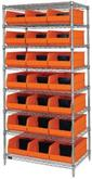 WR8-485 Chrome Wire Shelving with Plastic Bin Storage