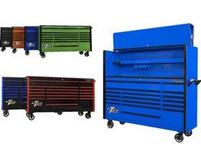 "DX Series 72"" 17 Drawer Roller Cabinets & Extreme Power Workstation Hutches"