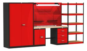 Fort Knox Modular Utility Workbench - Mixed Storage System With Wood Top, Model FKMIXEDSTOR-LG-M