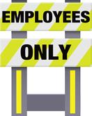 Folding Safety Barricade Employees Only Vibrant Yellow