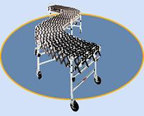"Medium Duty Accordion Wheel Conveyors with Black Plastic Wheels - 18"" Widths"