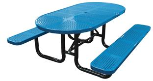 Oval Perforated Metal Picnic Table