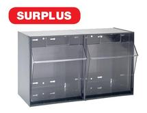 QTB302 Gray Clear Tip Out Bins - SURPLUS
