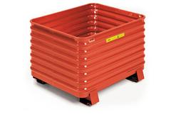 Steel King Round Corner Corrugated Container in Poppy Orange Color