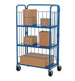 "Foldable/Nestable Roller Container 3 Shelves 34"" x 18"" x 59"""
