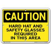 Vestil Caution Hard Hat and Safety Glasses Required