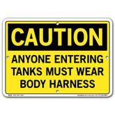 Vestil Caution Anyone Entering Tanks Must Wear Body Harness