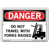 Vestil Danger Do Not Travel with Forks Raised