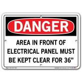 Vestil Danger Electrical Panel Kept Clear For 36""
