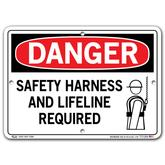 Vestil Danger Safety Harness and Lifeline Required