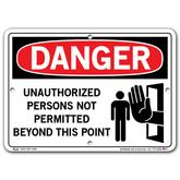 Vestil Danger Unauthorized Persons Not Permitted Beyond This Point