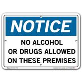Vestil Notice No Alcohol or Drugs Allowed on These Premises
