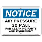 Vestil Notice Air Pressure 30 P.S.I.