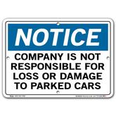 Vestil Notice Company Is Not Responsible for Loss or Damage to Parked Cars