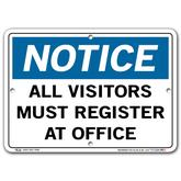 Vestil Notice All Visitors Must Register at Office