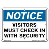 Vestil Notice Visitors Must Check In With Security
