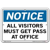 Vestil Notice All Visitors Must Get Pass at Office