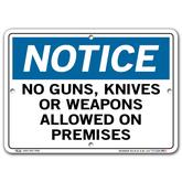 Vestil Notice No Guns Knives or Weapons Allowed On Premises