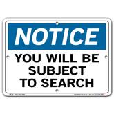 Vestil Notice You Will Be Subject to Search