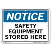 Vestil Notice Safety Equipment Stored Here