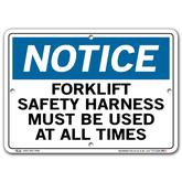 Vestil Notice Forklift Safety Harness Must Be Used At All Times