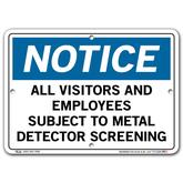 Vestil Notice All Visitors and Employees Subject to Metal Detector Screening