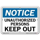 Vestil Notice Unauthorized Persons Keep Out
