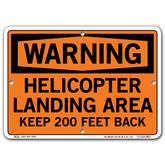 Vestil Warning Helicopter Landing Area