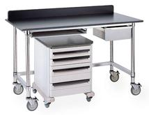 Metro Stainless Tables with Black Phenolic Top and 3-Sided Frame Model No. LTSM60UPB with accessories, casters, backsplash and Starsys cart
