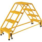 Vestil Double Sides Step Ladder with Casters Model No. LAD-DD-18-4-G