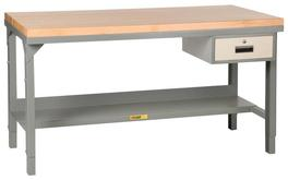 Little Giant Welded Steel Workbench with Butcher Block Top Model No. WSJ2-3060-AH-DR