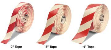 White Red Striped Floor Tape