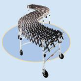 Roll-A-Way Heavy Duty Accordion Wheel Conveyors - 24 Inch Widths - Black Plastic Wheels