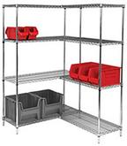 Quantum Genuine Wire Shelving Chrome Add-On Kit - 4 Shelves 74 inch High
