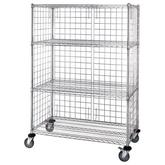 Quantum Proform Green Epoxy 3 Sided 4 Shelf Enclosure Cart with Panels