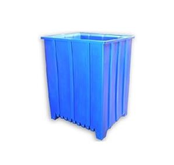 Seamless Plastic Nestable Tall Unique Style Pallet Containers - Tall Profile with Ribbing at Bottom