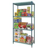 "Quantum Proform Green Wire Plastic Mat One Box Shelving - 63"" H 4 Shelves"